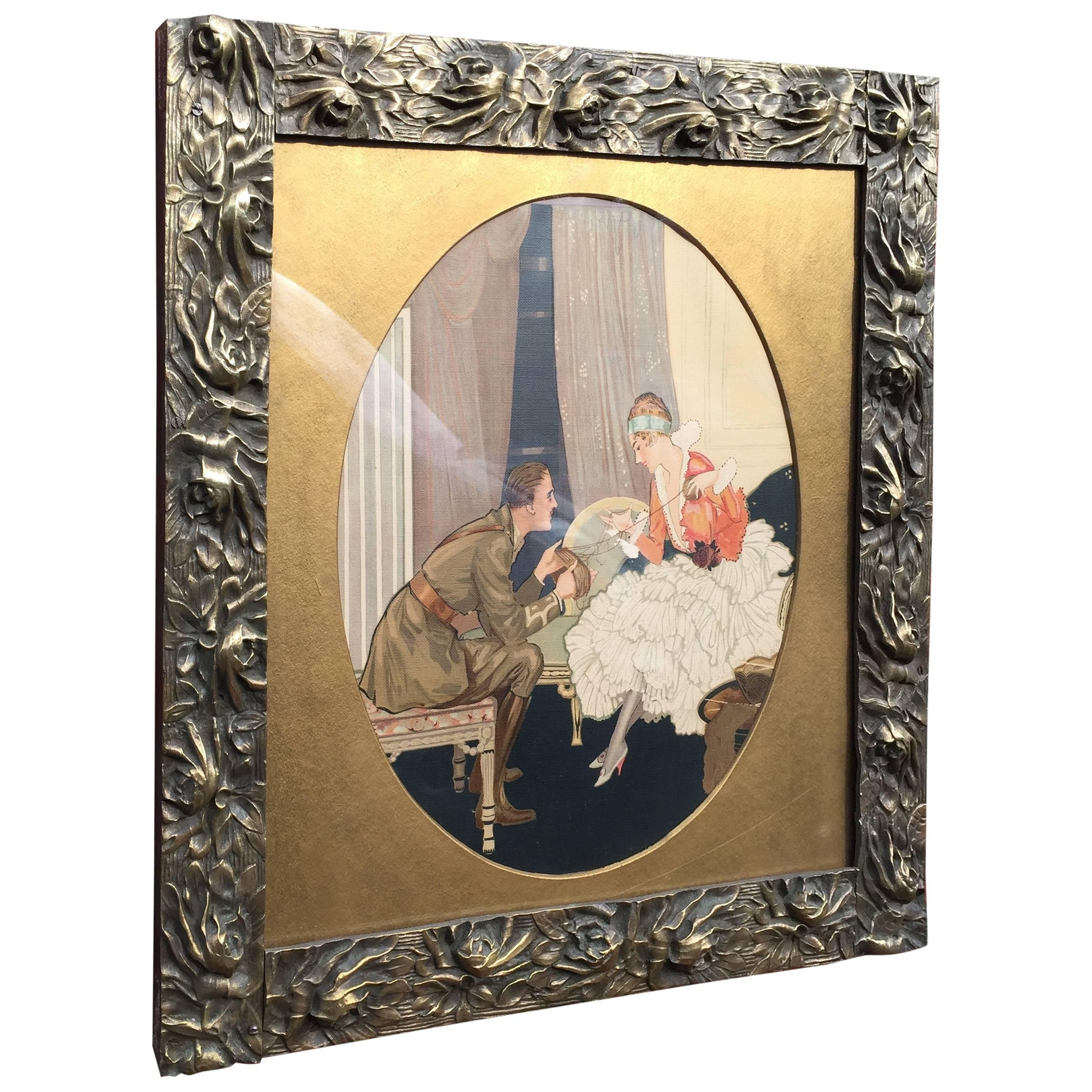 Stunning Art Nouveau era Arts and Crafts Bronze Picture Frame with Floral Design