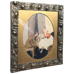 Rare Art Nouveau era Arts and Crafts Bronze Picture Frame with Floral Design