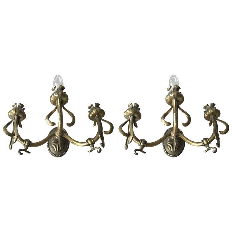 Pair of Art Nouveau Bronze Three-Light Gas Wall Sconces Flower Design Wall Lamps