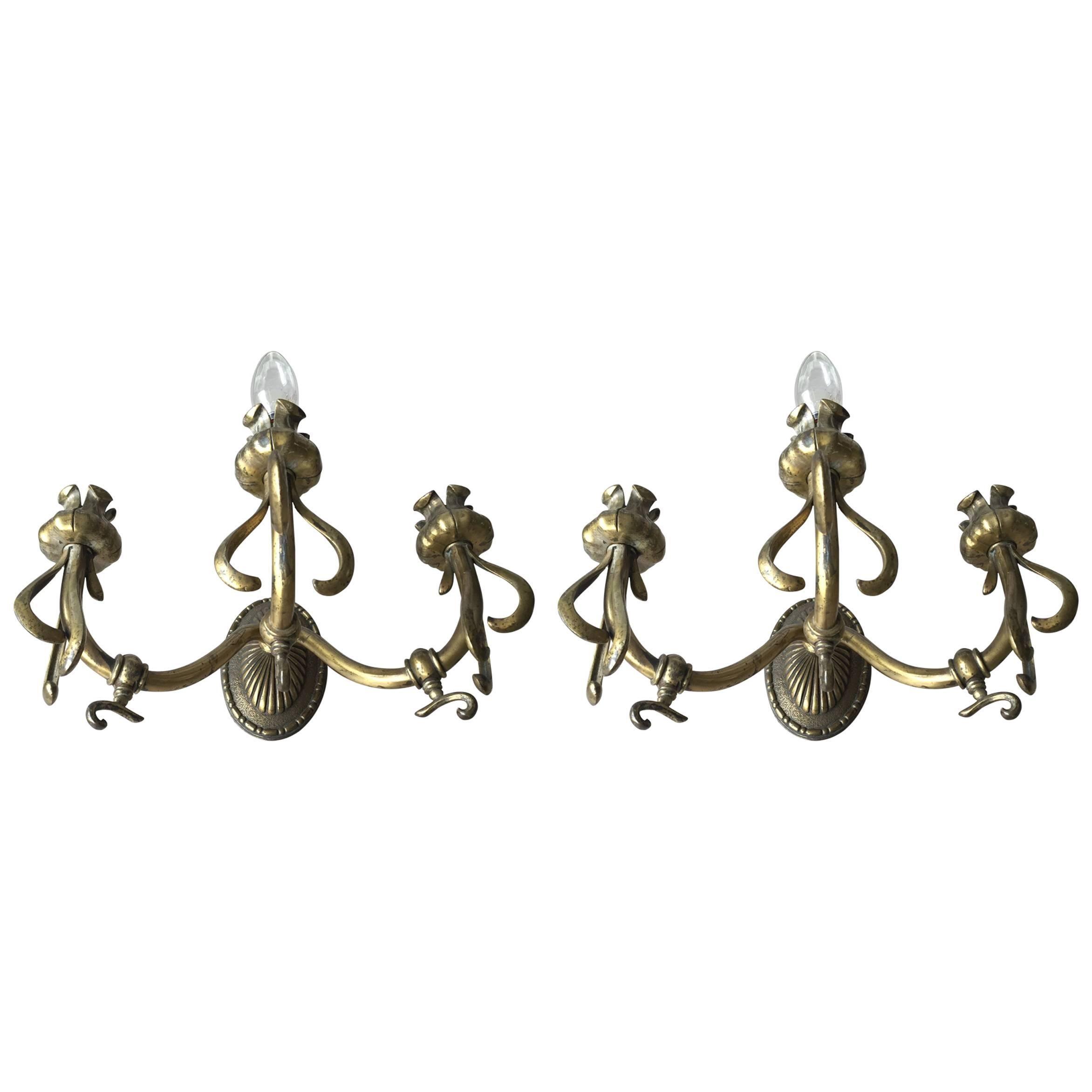 Rare Pair of Art Nouveau Bronze Wall Sconces / Fixtures with Flower Theme