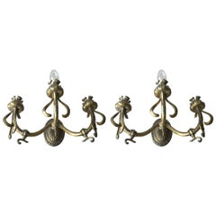Rare Pair of Art Nouveau Bronze Wall Sconces / Fixtures with Flower Theme