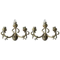 Pair of Art Nouveau Bronze Three-Light Gas Wall Sconces Flower Design Wall Lamps