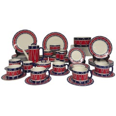 Red White and Blue Mancioli Drum Motiffe Dinnerware
