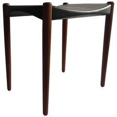 Larsen & Madsen Solid Mahogany Leather Stool from Willy Beck, 1950