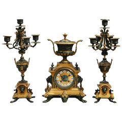 19th Century, French Bronze Clock Garniture Set with an Urn and a Lion Motif