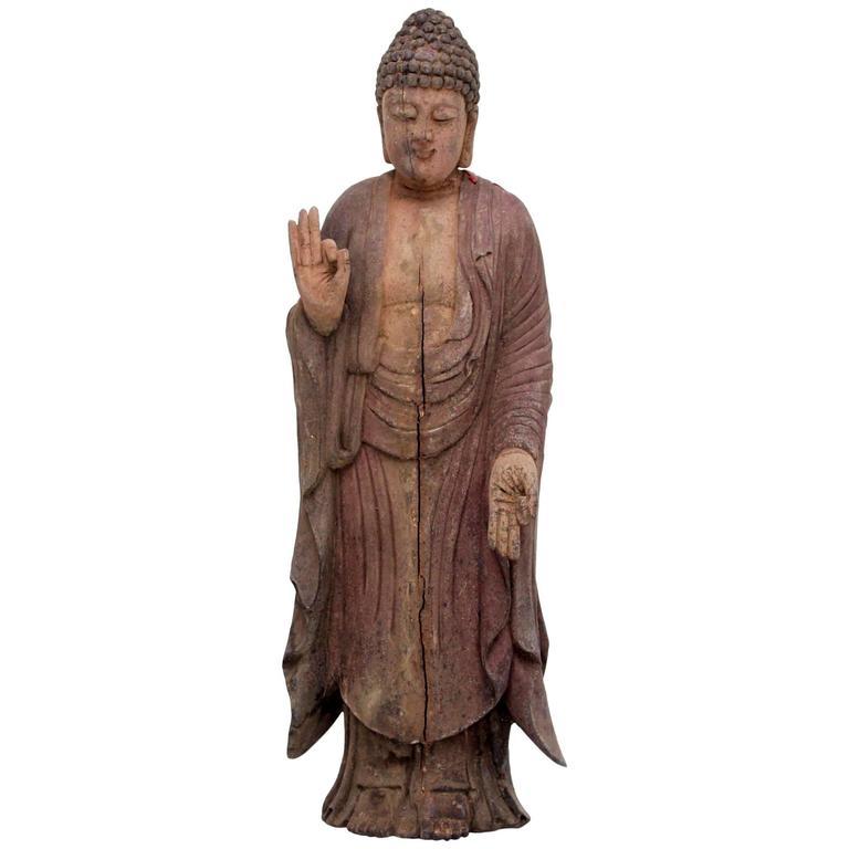 Carved Polychrome Standing Buddha Figure