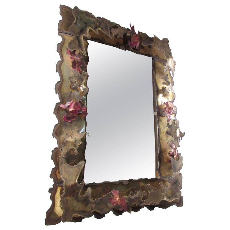 Brutalist Wall Mirror in the Style of Silas Seandel For Sale