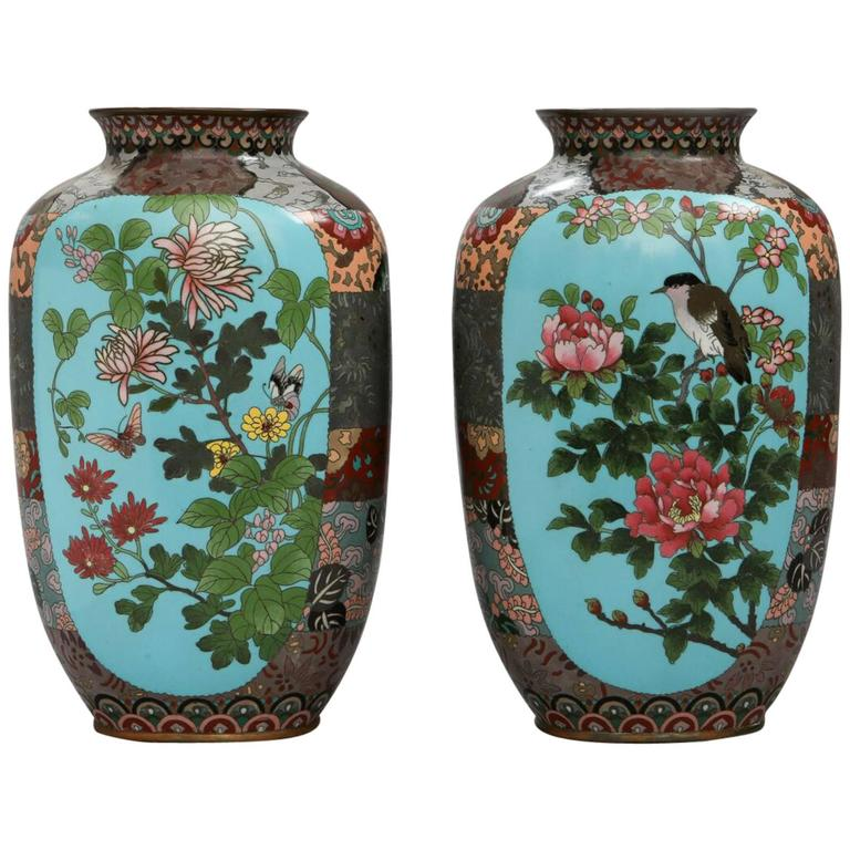 Vintage Pair Of Ando Jubei Studio Cloisonne Vases At 1stdibs