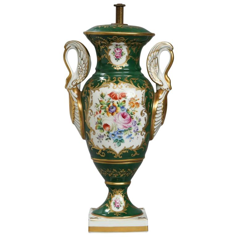 19th Century Paris Porcelain Lidded Green Vase