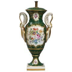 19th Century Paris Porcelain Lidded Green Vase