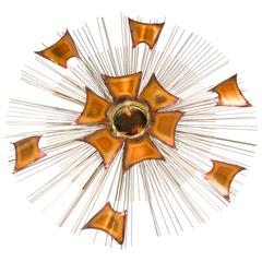 "Wall Sculpture by Cutis Jere, 1970s, ""Sun iii"""