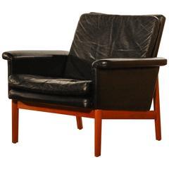 1950s, Lounge Chair 'Jupiter' by Finn Juhl for France & Son, Black Leather