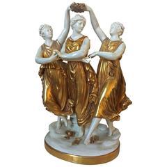 19th Century, Italian Porcelain Statue of Three Dancing Elves