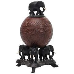 20th Century Carved Coconut Elephant Box
