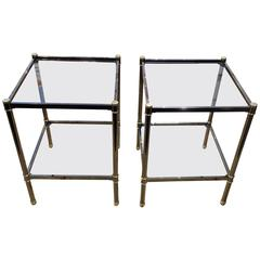 Mid-Century Modern Pair of Square Side Tables, France