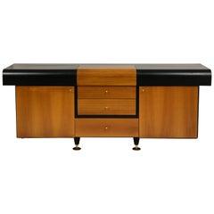 Pierre Cardin Sideboard Buffet Dresser Black and Wood Brass Detail 1980s, 1990s