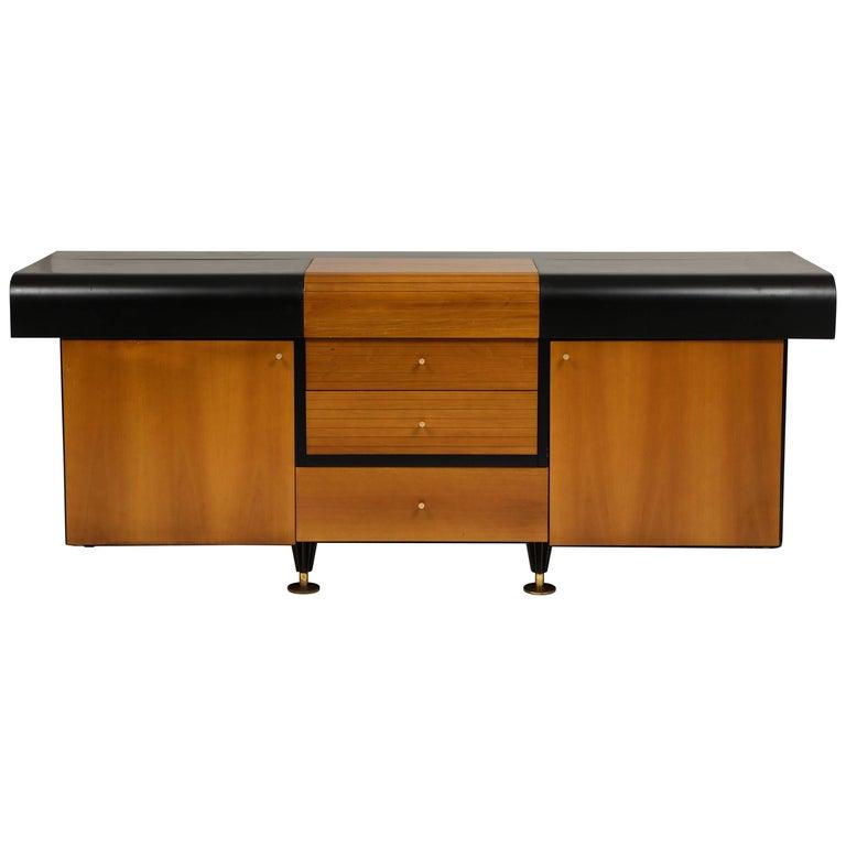 Mid-Century Modern Pierre Cardin Sideboard Buffet Dresser Black Brown Wood Brass Detail 1980s-1990s For Sale
