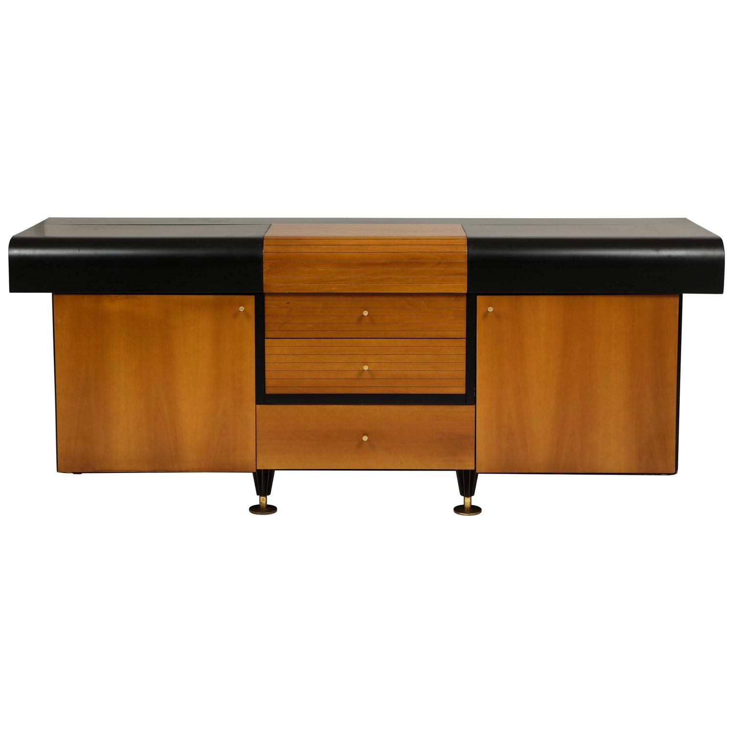 Pierre Cardin Sideboard Buffet Dresser Black and Wood Brass Detail
