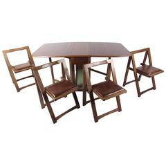 Mid Century Modern Rolling Drop Leaf Table With Chairs