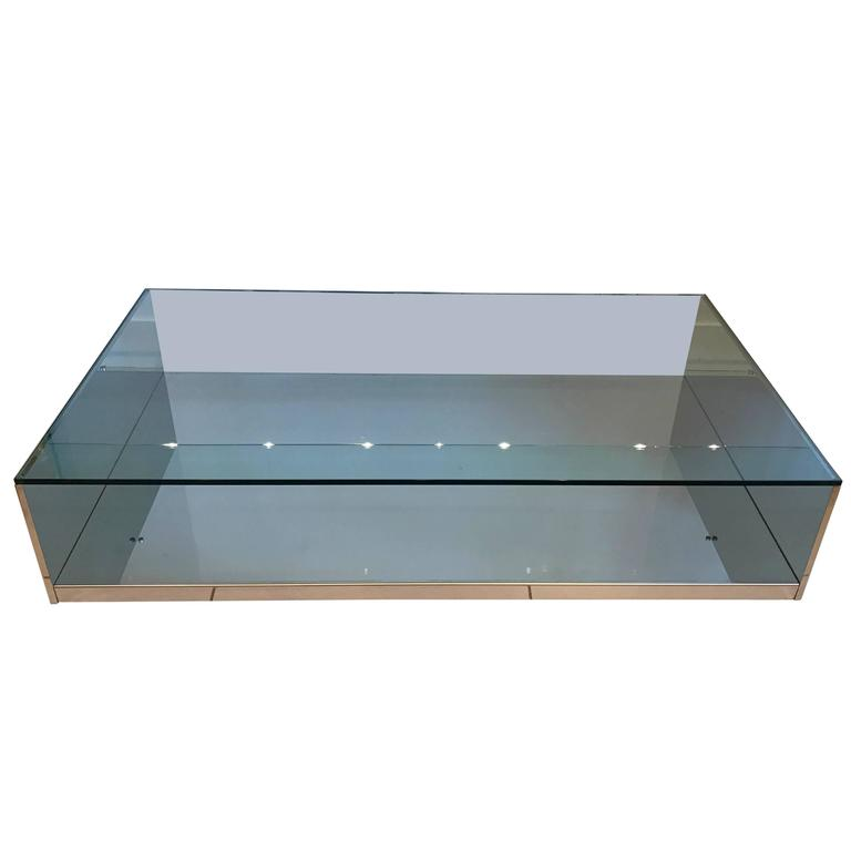 Domus Design Collection Mirrored Chrome And Glass Coffee Or Cocktail Table For Sale At 1stdibs