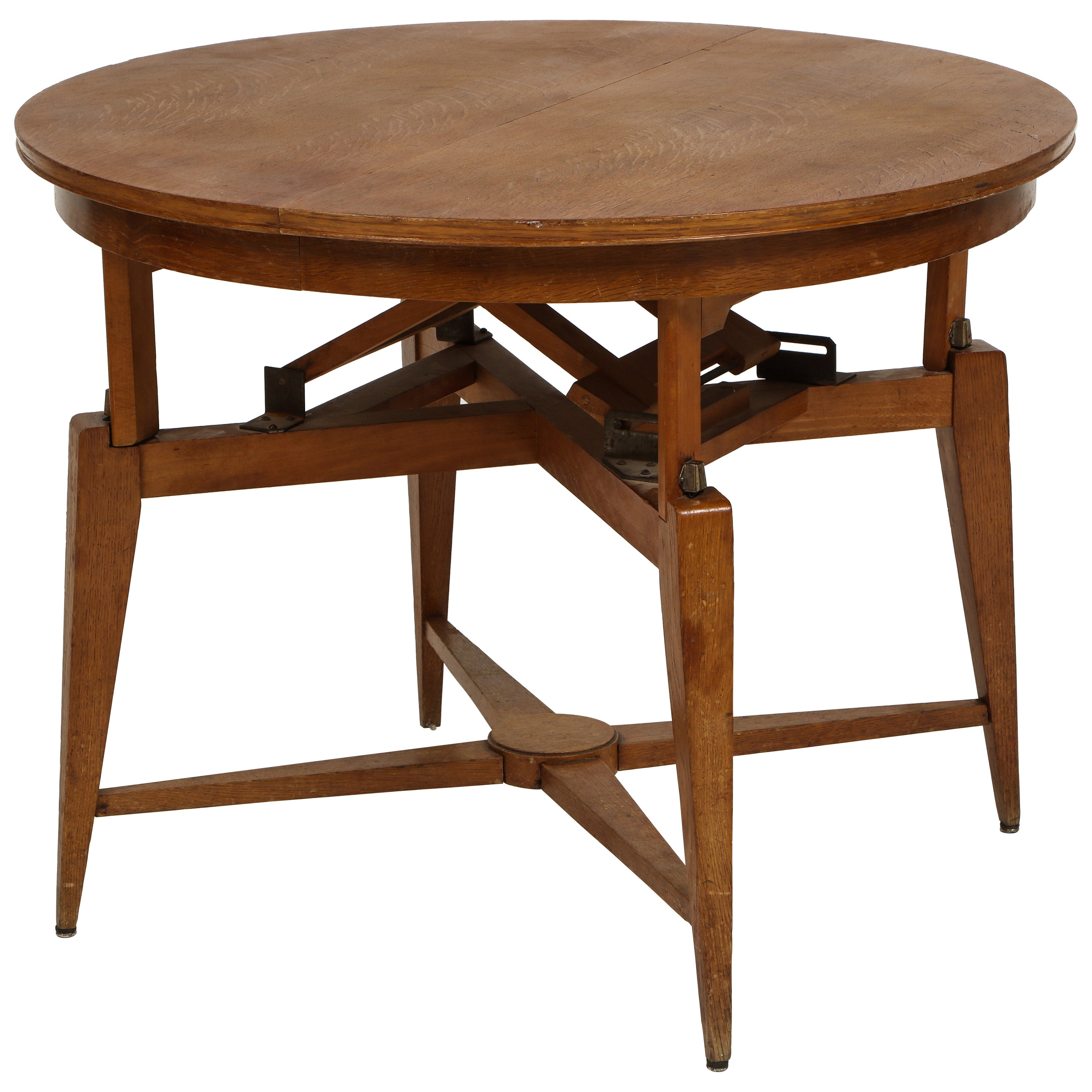 Marcel Gascoin 1950s Wood Coffee Centre Dining Table, Midcentury, France