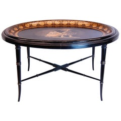 19th Century English Regency Oval Papier Mâché Tray on Black Lacquered Base