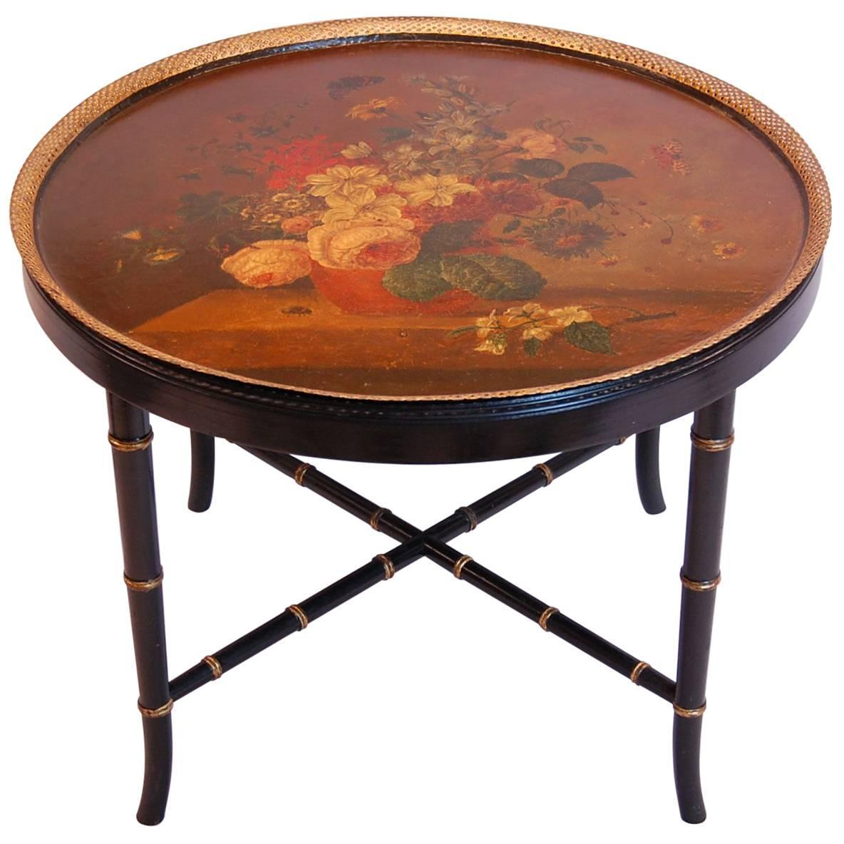 Large Gold Coffee Table Tray: Large Floral Painted Circular Tole Tray On Black Lacquered
