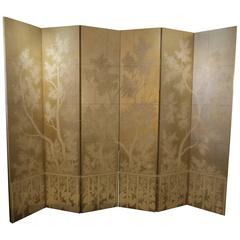 Hand-Painted Deco Style Screen on Metallic Ground