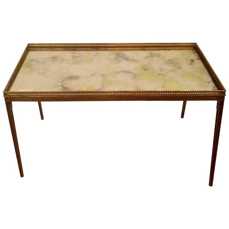 Coffee Table with Mirror Top in Maison Baguès Style