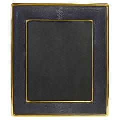 "Black Shagreen Gold-Plated Photo Frame for 8"" x 10"" by Fabio Bergomi"