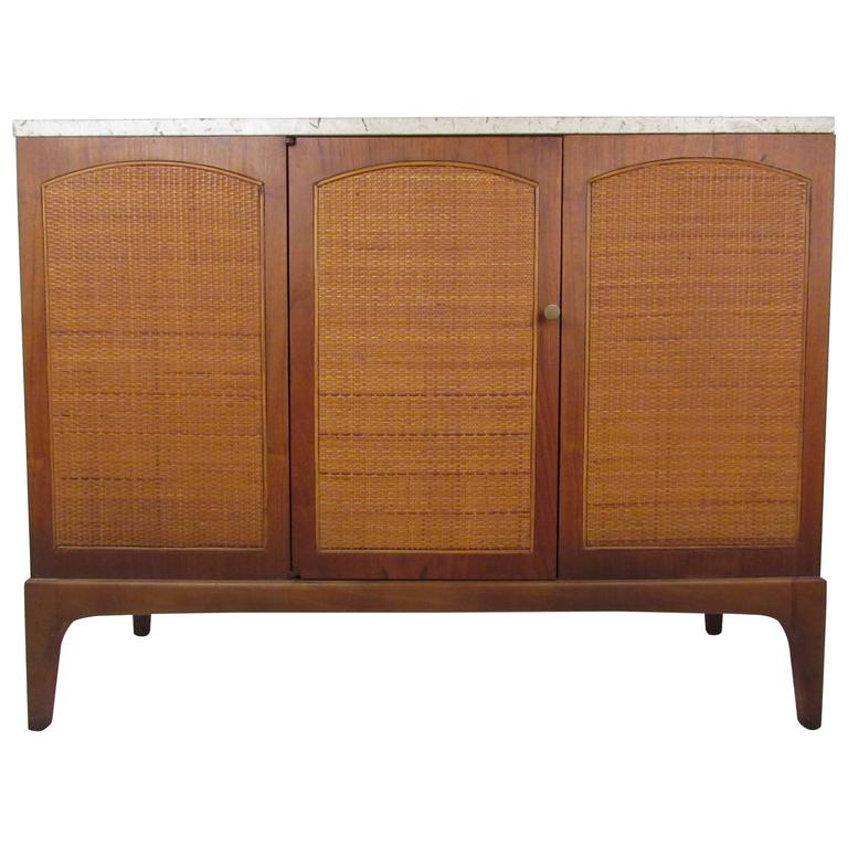 Mid-Century Credenza With Marble Top and Cane Front