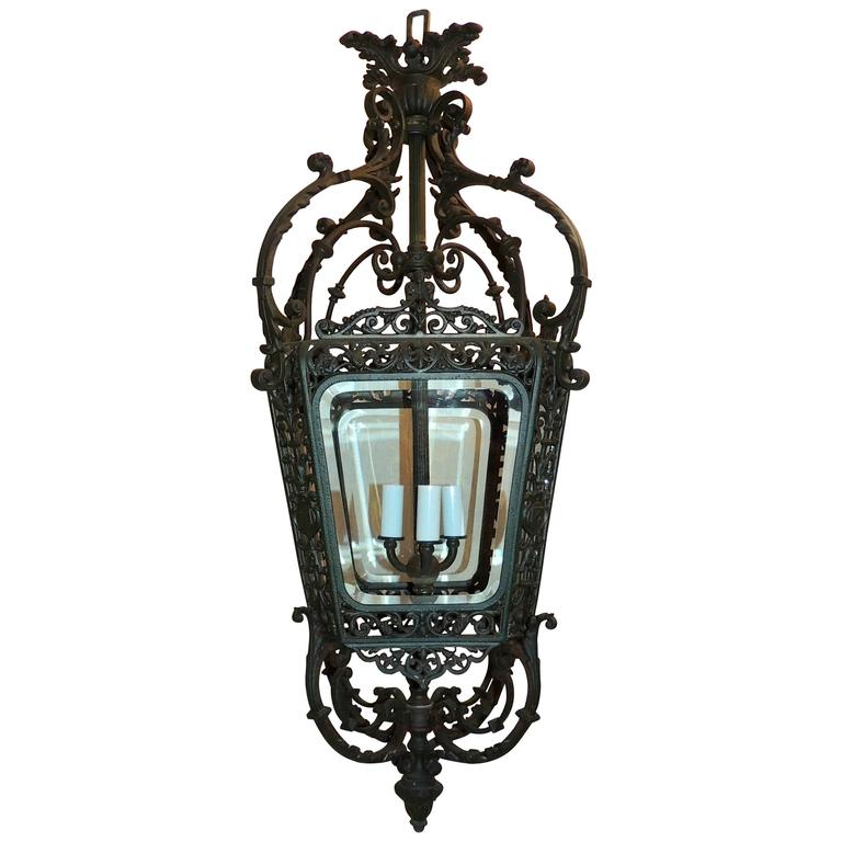 Wonderful French Verde Patinated Bronze Beveled Glass Lantern Pendent Fixture