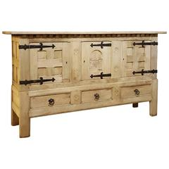 Antique Rustic Stripped Oak Gothic Raised Buffet with Forged Iron Hardware
