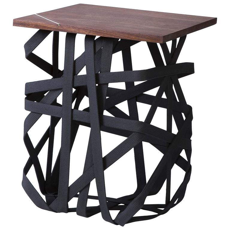 "Minimalist ""Woven"" Side Table, Solidified Black Cotton with Walnut Surface For Sale"