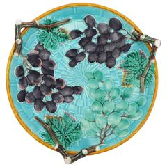 19th Century Aqua Majolica Grapes Serving Handled Platter Wedgwood