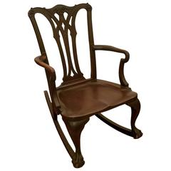 Chippendale Carved Mahogany Rocking Chair