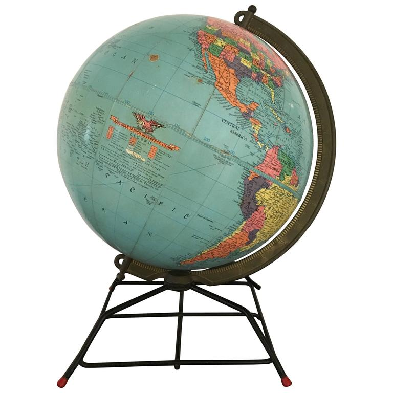 Mid Century Replogle Globe On Wire Stand For