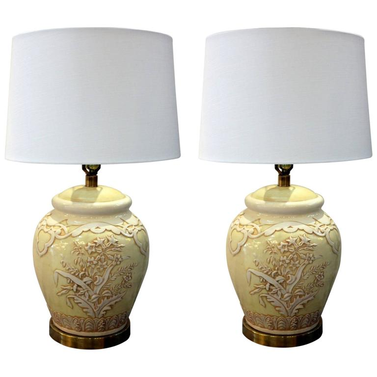 Pair of Mid-Century Ceramic Lamps by Paul Hansen For Sale