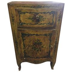 18th Century Venetian Commode Yellow Lacquered Pine with Painted Flowers