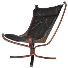 Sigurd Resell Rosewood and Leather Falcon Chair