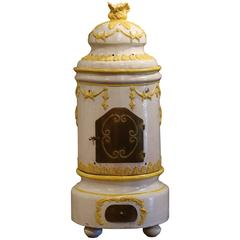 19th Century French White and Yellow Terracotta and Brass Wood Burning Stove