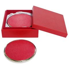 Six-Piece Set of Red Shagreen Coasters by Fabio Ltd