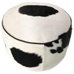 Black and White Cowhide Pouf Ottoman