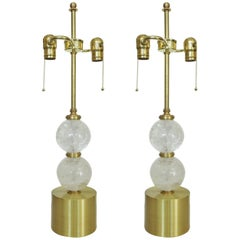 Pair of High Style Brass and Rock Crystal Stone Table Lamp
