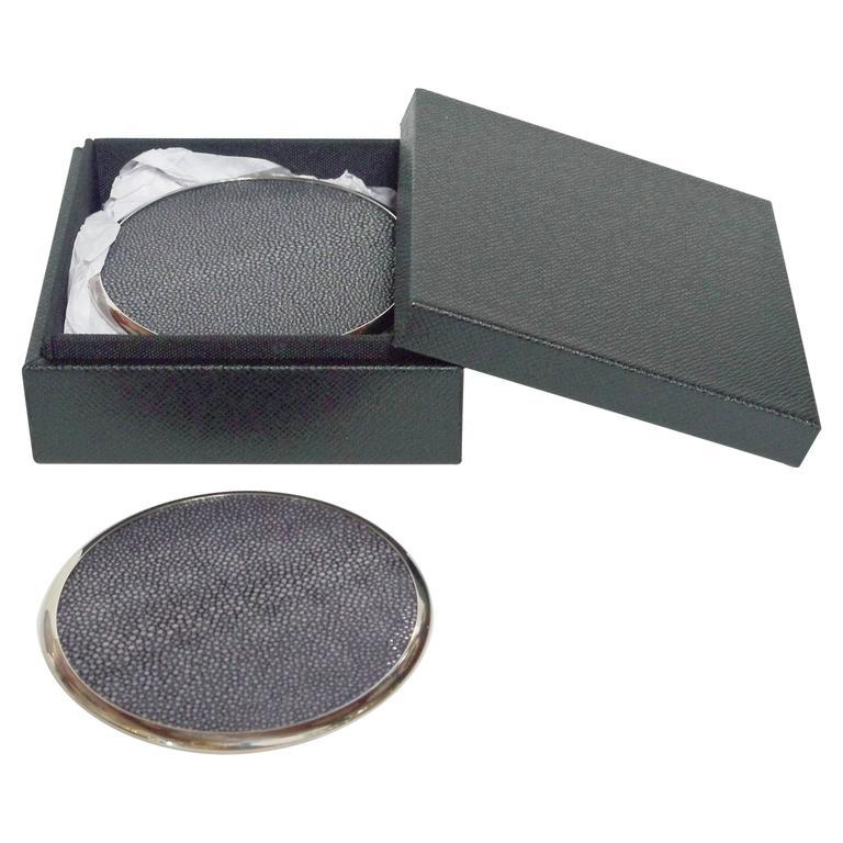 Six-Piece Set of Black Shagreen Coasters