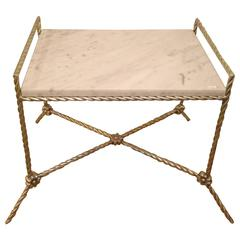Twisted Silver Gilt Metal Bench/Side Table