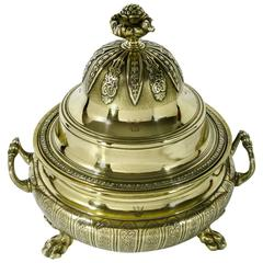 Important French Huguenot Cast Brass Silver Form Tureen, circa 1720
