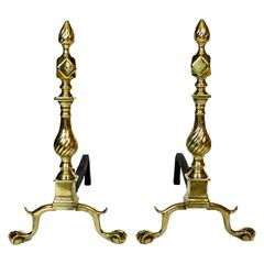 Exceptional Pair of American 'New York' Diamond and Flame Brass Andirons, 1765