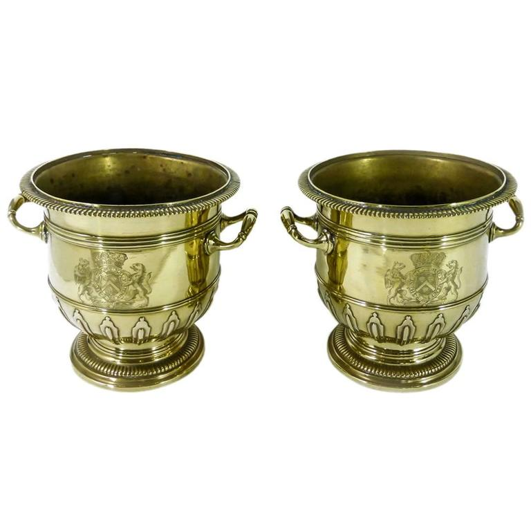 Pair of Brass Silver Form Huguenot Wine Buckets, circa 1710 1
