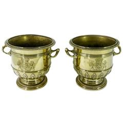 Highly Important Pair of Brass Silver Form Huguenot Wine Buckets, circa 1710